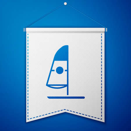 Blue Windsurfing icon isolated on blue background. White pennant template. Vector Illustration.
