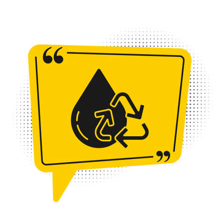 Black Recycle clean aqua icon isolated on white background. Drop of water with sign recycling. Yellow speech bubble symbol. Vector Illustration Ilustração