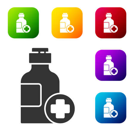 Black Bottle of medicine syrup icon isolated on white background. Set icons in color square buttons. Vector Illustration 向量圖像