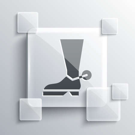 Grey Cowboy boot icon isolated on grey background. Square glass panels. Vector Illustration