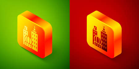 Isometric City landscape icon isolated on green and red background. Metropolis architecture panoramic landscape. Square button. Vector Illustration
