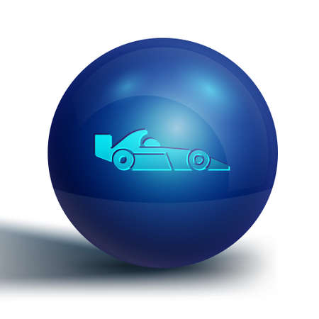 Blue racing car icon isolated on white background. Blue circle button. Vector Illustration