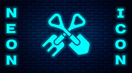Glowing neon Shovel and rake icon isolated on brick wall background. Tool for horticulture, agriculture, gardening, farming. Ground cultivator. Vector Illustration.