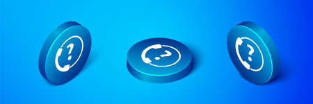 Isometric Telephone 24 hours support icon isolated on blue background. All-day customer support call-center. Full time call services. Blue circle button. Vector Illustration Ilustrace