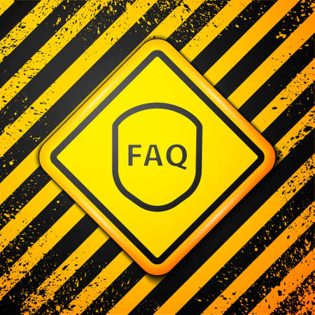 Black Shield with text FAQ information icon isolated on yellow background. Guard sign. Security, safety, protection, privacy concept. Warning sign. Vector Illustration