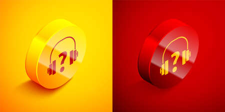 Isometric Headphones icon isolated on orange and red background. Support customer service, hotline, call center, faq, maintenance. Circle button. Vector Illustration.