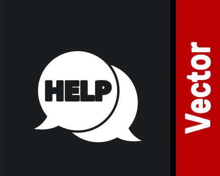 White Speech bubble with text Help icon isolated on black background. Vector Illustration.