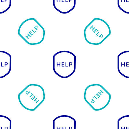 Blue Shield with text Help icon isolated seamless pattern on white background. Guard sign. Security, safety, protection, privacy concept. Vector Illustration.