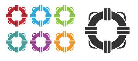 Black Lifebuoy icon isolated on white background. Lifebelt symbol. Set icons colorful. Vector Illustration. Illustration