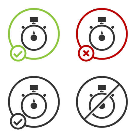 Black Stopwatch icon isolated on white background. Time timer sign. Chronometer sign. Circle button. Vector Illustration 向量圖像