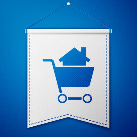 Blue Shopping cart with house icon isolated on blue background. Buy house concept. Home loan concept, rent, buying a property. White pennant template. Vector Illustration