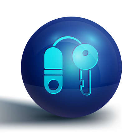 Blue House with key icon isolated on white background. The concept of the house turnkey. Blue circle button. Vector Illustration.