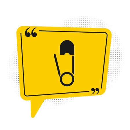 Black Classic closed steel safety pin icon isolated on white background. Yellow speech bubble symbol. Vector Illustration.