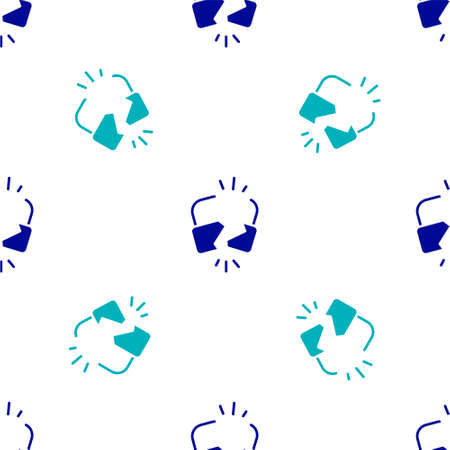 Blue Broken or cracked lock icon isolated seamless pattern on white background. Unlock sign. Vector Illustration.