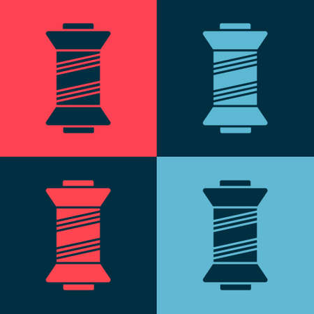 Pop art Sewing thread on spool icon isolated on color background. Yarn spool. Thread bobbin. Vector Illustration.