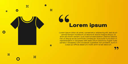 Black T-shirt icon isolated on yellow background. Vector Illustration