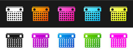 Set Calendar icon isolated on black and white background. Event reminder symbol. Vector Illustration.