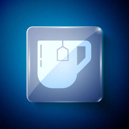 White Cup of tea with tea bag icon isolated on blue background. Square glass panels. Vector Illustration.