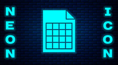 Glowing neon File document icon isolated on brick wall background. Checklist icon. Business concept. Vector Illustration. Ilustrace