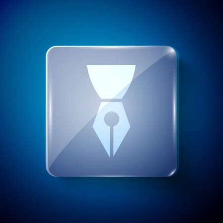 White Fountain pen nib icon isolated on blue background. Pen tool sign. Square glass panels. Vector Illustration.