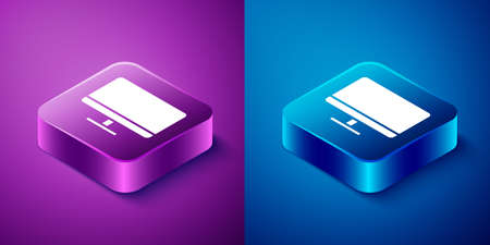 Isometric Computer monitor screen icon isolated on blue and purple background. Electronic device. Front view. Square button. Vector Illustration. 向量圖像