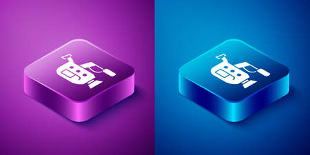 Isometric Cinema camera icon isolated on blue and purple background. Video camera. Movie sign. Film projector. Square button. Vector Illustration.