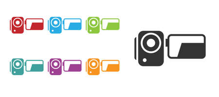 Black Cinema camera icon isolated on white background. Video camera. Movie sign. Film projector. Set icons colorful. Vector Illustration.