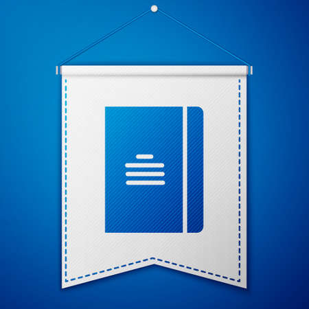 Blue Notebook icon isolated on blue background. Spiral notepad icon. School notebook. Writing pad. Diary for school. White pennant template. Vector Illustration.