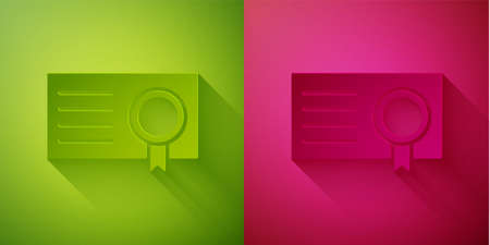 Paper cut Certificate template icon isolated on green and pink background. Achievement, award, degree, grant, diploma concepts. Paper art style. Vector Illustration Ilustração