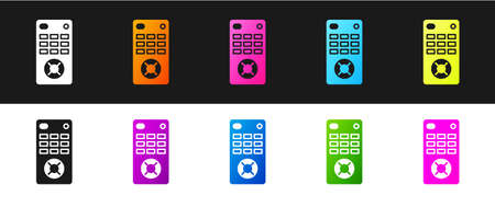 Set Remote control icon isolated on black and white background. Vector Illustration.