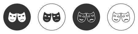 Black Comedy and tragedy theatrical masks icon isolated on white background. Circle button. Vector Illustration. 일러스트