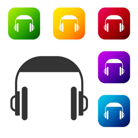Black Headphones icon isolated on white background. Support customer service, hotline, call center, faq, maintenance. Set icons in color square buttons. Vector Illustration