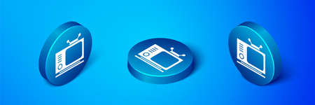 Isometric Retro tv icon isolated on blue background. Television sign. Blue circle button. Vector Illustration