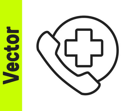 Black line Emergency phone call to hospital icon isolated on white background. Vector Illustration.