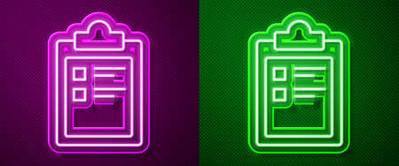 Glowing neon line Sport training program or fitness plan icon isolated on purple and green background. Vector Illustration Stock Illustratie