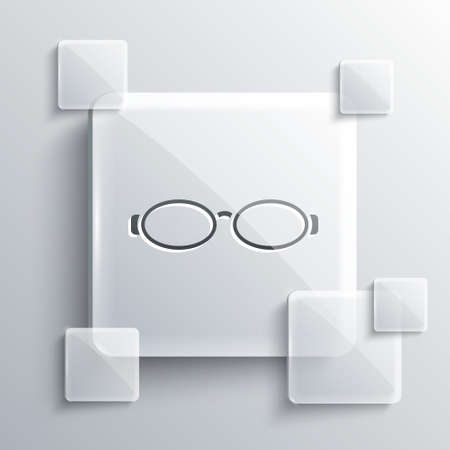 Grey Glasses for swimming icon isolated on grey background. Goggles sign. Diving underwater equipment. Square glass panels. Vector Illustration.