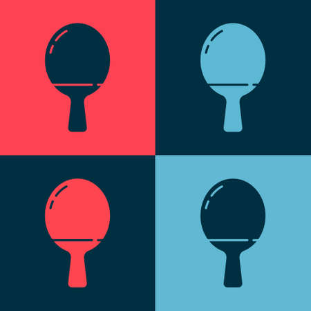 Pop art Racket for playing table tennis icon isolated on color background. Vector Illustration.