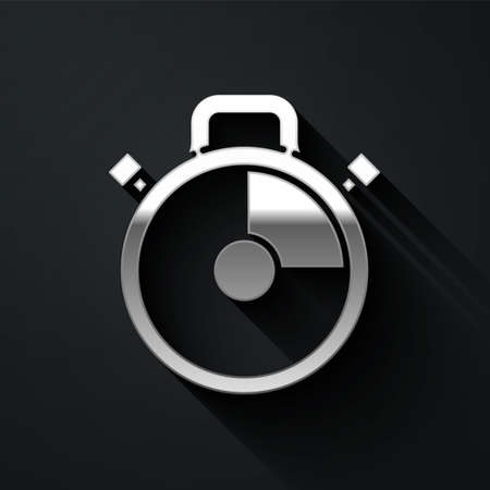 Silver Stopwatch icon isolated on black background. Time timer sign. Chronometer sign. Long shadow style. Vector Illustration.  イラスト・ベクター素材