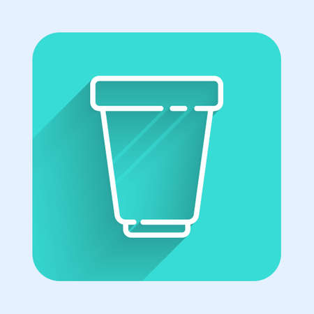 White line Water filter cartridge icon isolated with long shadow. Green square button. Vector Illustration. Çizim