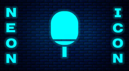 Glowing neon Racket for playing table tennis icon isolated on brick wall background. Vector Illustration Vectores
