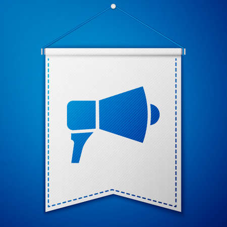 Blue Megaphone icon isolated on blue background. Speaker sign. White pennant template. Vector Illustration. Stock fotó - 150551878
