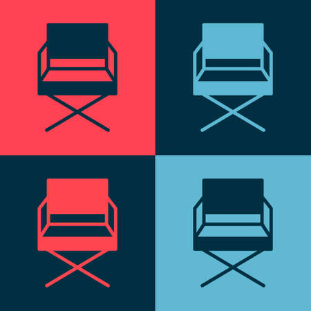 Pop art Director movie chair icon isolated on color background. Film industry. Vector Illustration. 向量圖像