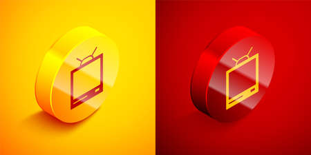 Isometric Retro tv icon isolated on orange and red background. Television sign. Circle button. Vector Illustration. Stock fotó - 150551884