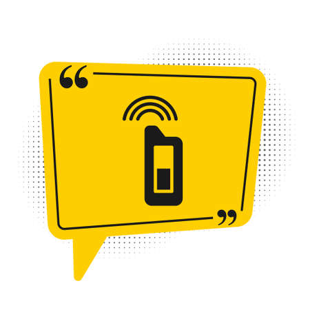 Black Car key with remote icon isolated on white background. Car key and alarm system. Yellow speech bubble symbol. Vector Illustration.