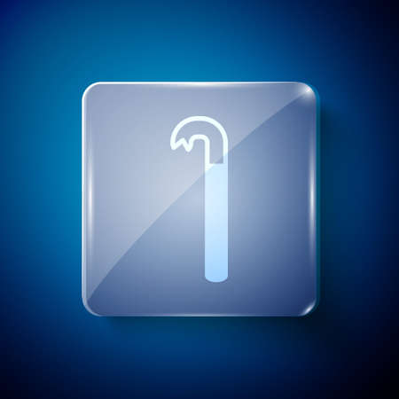 White Crowbar icon isolated on blue background. Square glass panels. Vector Illustration. Stock Illustratie