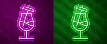 Glowing neon line Cocktail icon isolated on purple and green background. Vector Illustration.