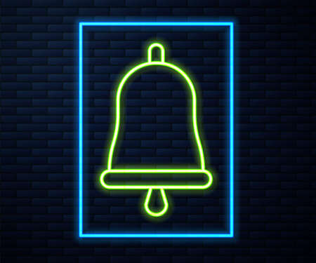 Glowing neon line Ringing bell icon isolated on brick wall background. Alarm symbol, service bell, handbell sign, notification symbol. Vector Illustration.