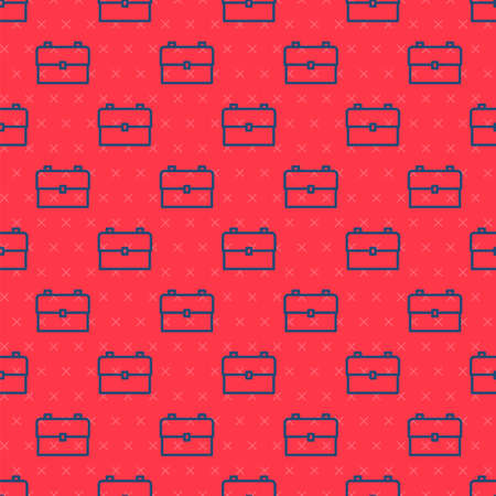 Blue line School backpack icon isolated seamless pattern on red background. Vector Illustration.