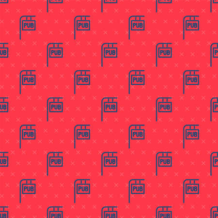 Blue line Street signboard with inscription Pub icon isolated seamless pattern on red background. Suitable for advertisements bar, cafe, restaurant. Vector Illustration.