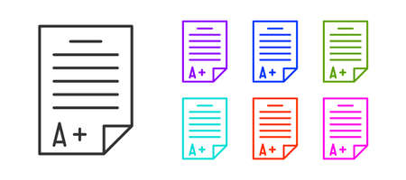 Black line Exam sheet with A plus grade icon isolated on white background. Test paper, exam, or survey concept. School test or exam. Set icons colorful. Vector Illustration.